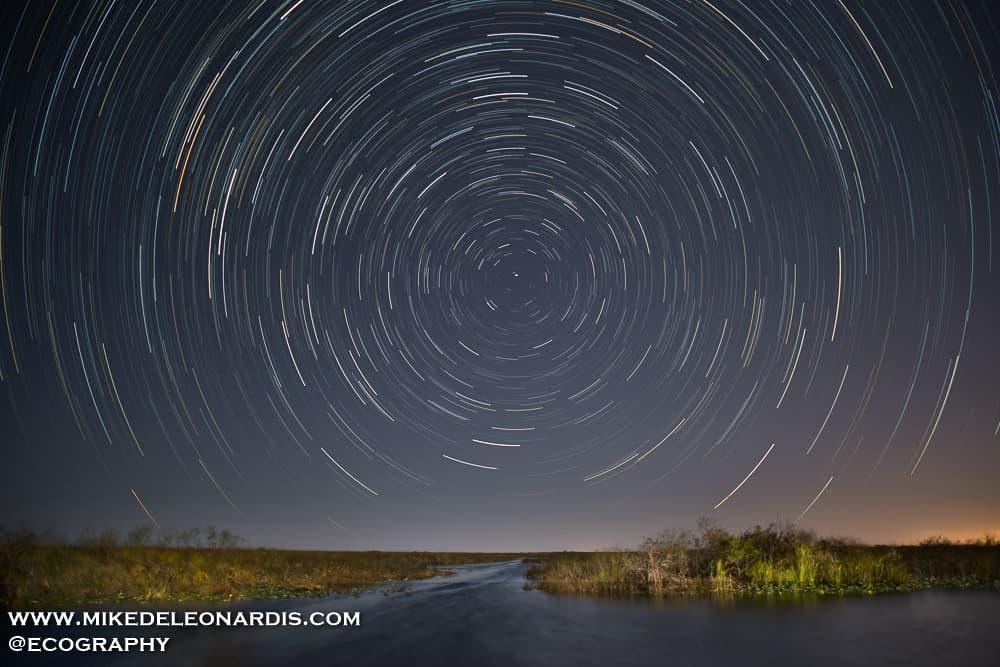 Star trails over Florida Everglades
