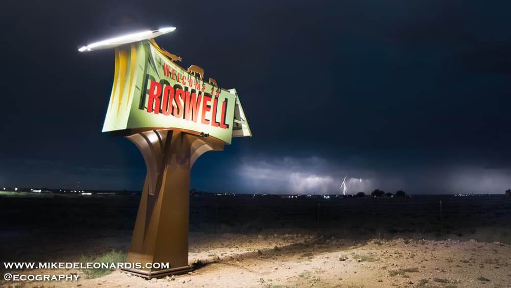 "When I was younger, one of my favorite TV shows was Roswell. The title sequence had a lightning bolt in the distance with ""Roswell"" superimposed. I was apparently subconsciously thinking of that scene while getting this shot. This supercell storm, shaped like a flying saucer, was producing tons of lightning bolts and the only sound around was the thunderous roar."