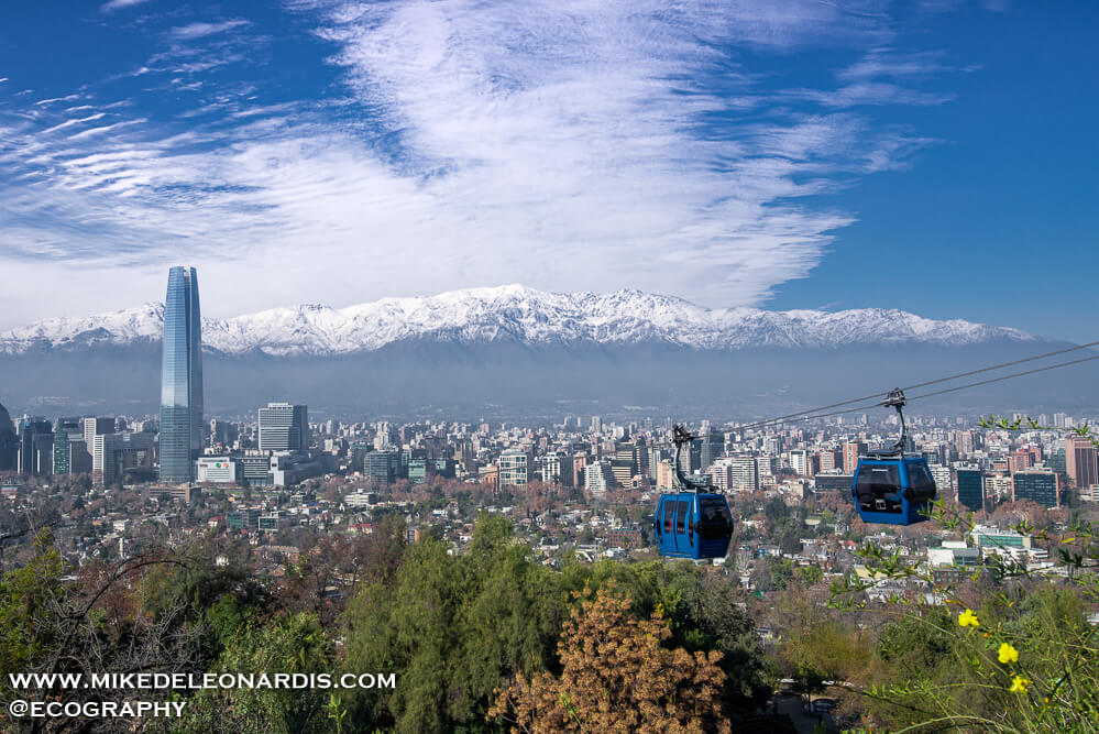 Santiago, Chile, home to the largest building in Latin America, was beautiful with such unique architecture and friendly people. I hadn't really taken city pictures in 20 years or so and it was hard to capture certain aspects of Santiago. I was able to get one good city/landscape picture though of Santiago after taking a cable car to the top of Cerro San Cristóbal. The weather cooperated that day allowing a clear shot (which is good because the whole sky was snowed over the day before blocking out the Andes).