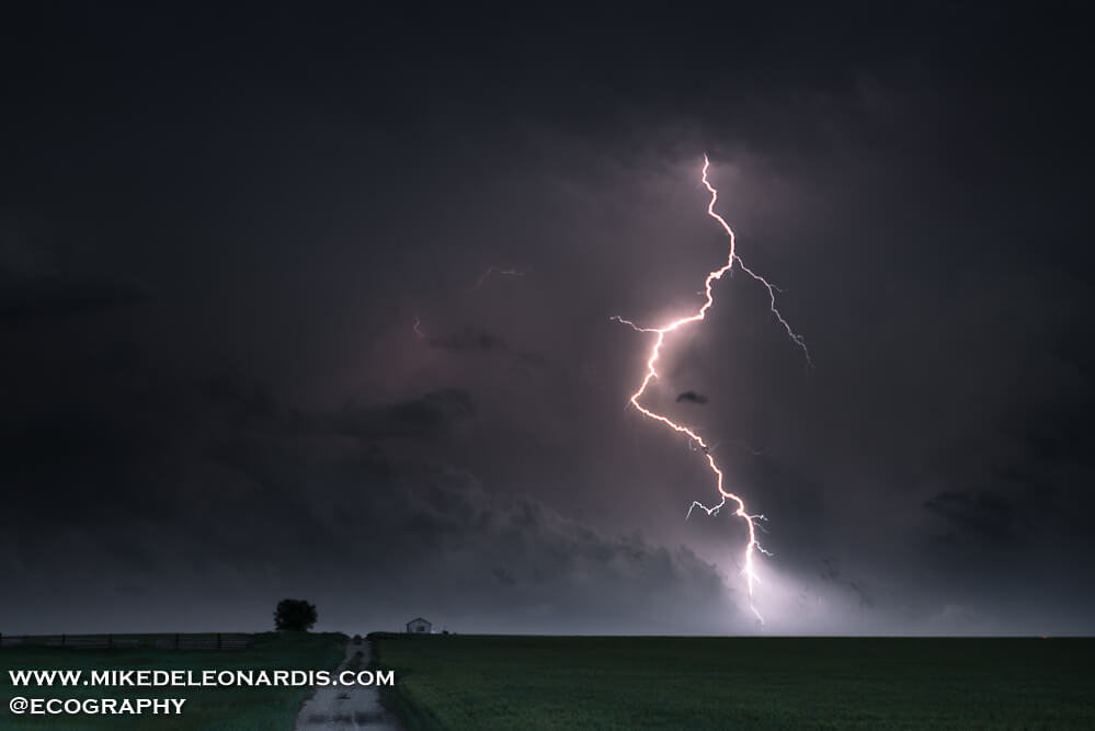 I followed this storm for about two hours and it produced one of the most beautiful lightning shows I had ever seen. On the other side of the lightning bolt was a huge destructive EF-3 tornado that ended up flipping train cars and causing considerable damage near Alliance, Nebraska.
