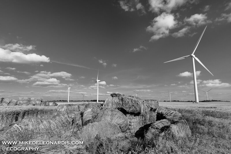 In the Great Plains wind farms produce a large amount of energy. This wind farm was near El Reno, Oklahoma.
